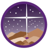 A circular logo with the Bethlehem Star shining down on Bethlehem, other stars, and mountains.