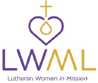 "Purple heart with gold cross and water drop and the words ""LWML Lutheran Women in Mission."""