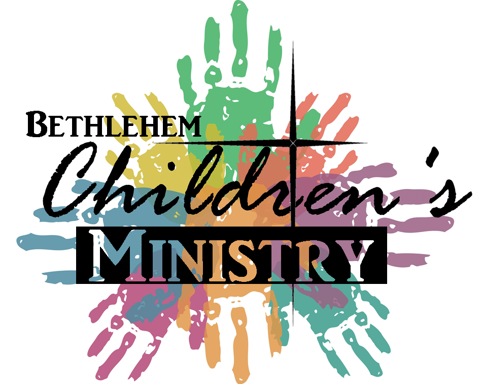"""Colorful children's hand prints form a somewhat circular shape with palms in the middle and the Bethlehem Star and the words """"Bethlehem Children's Ministry"""" over top."""