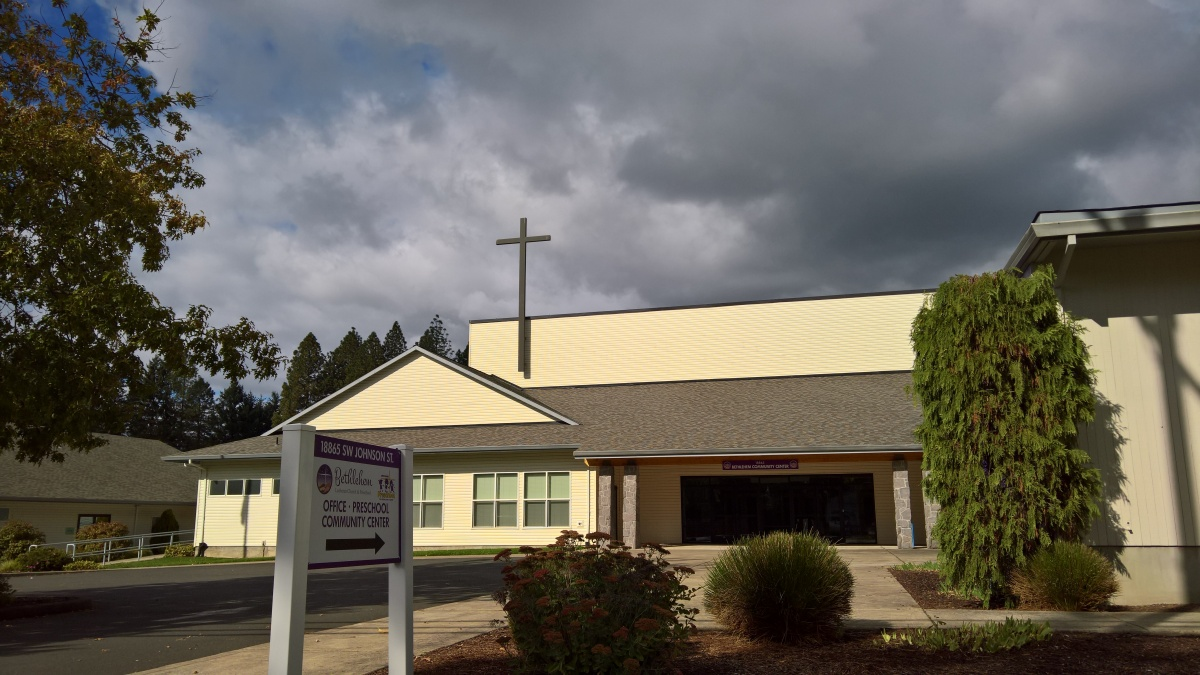 View of Bethlehem Lutheran Church and Preschool's main entrance from Johnson Street.