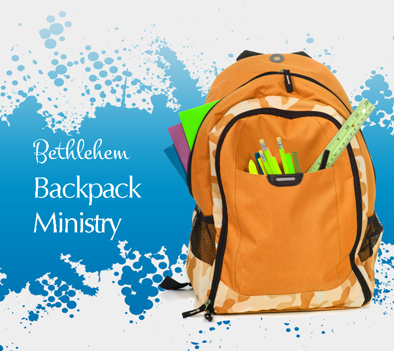 "An orange backpack on a blue and white background with the words ""Bethlehem Backpack Ministry""."