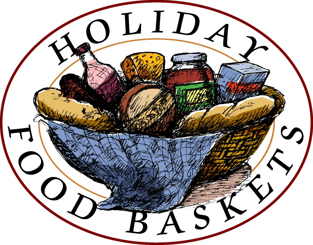 "A colorful basket full of food with the words ""Holiday Food Baskets""."