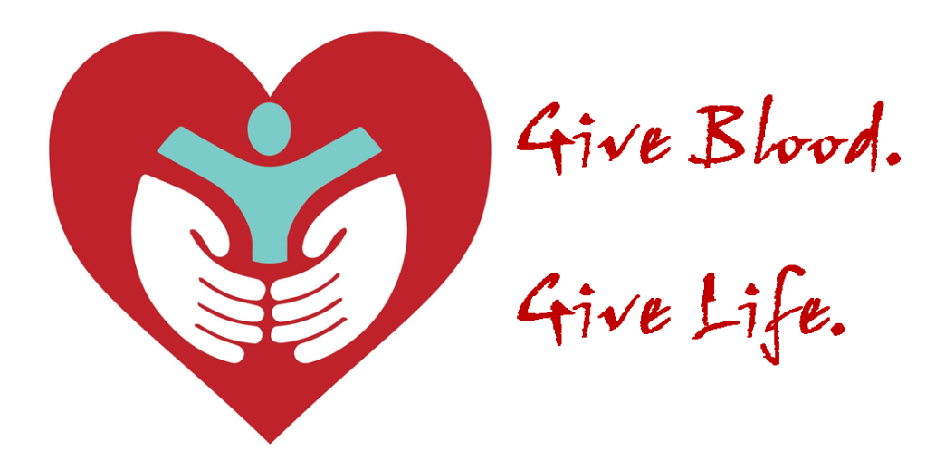 "A Red heart with a man being held in two hands and the words ""Give Blood. Give Life."""