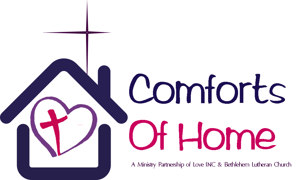 "Love INC's heart and cross logo inside a house shape with the Bethlehem Star above and the words ""Comforts of Home A Ministry Partnership of Love INC and Bethlehem Lutheran Church""."
