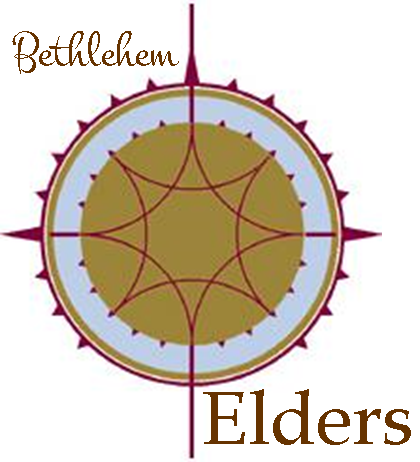 """A gold and maroon compass with the words """"Bethlehem Elders""""."""