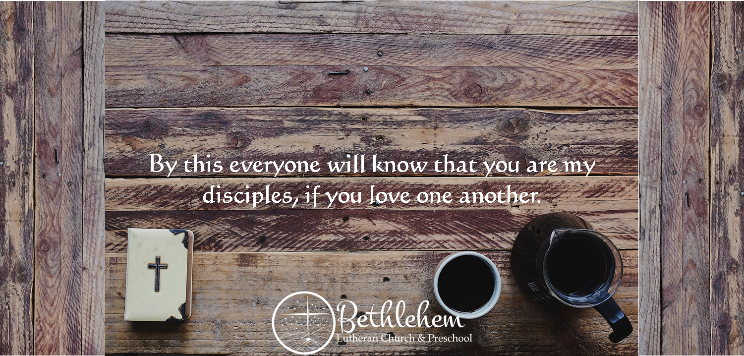 A Bible, coffee cup, and coffee pot sit on a wooden table with a Bible verse written and Bethlehem's logo.