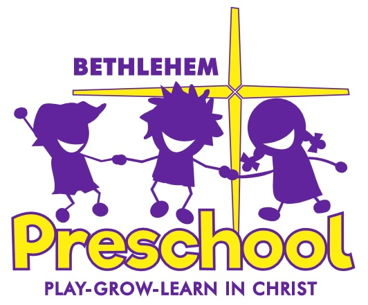 """Three kids smiling and playing with the Bethlehem Star in the background and the words """"Bethlehem Preschool: Play- Grow- Learn in Christ"""""""
