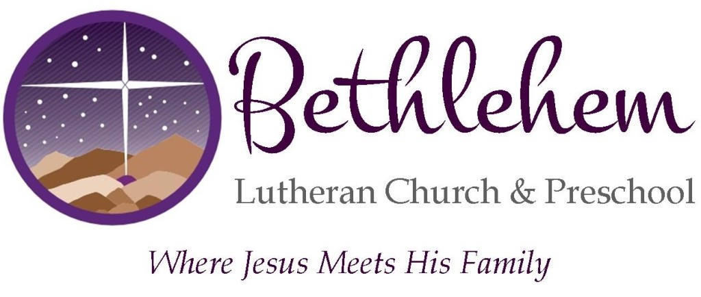 "A circular logo with the Bethlehem Star shining on Bethlehem at night and the words ""Bethlehem Lutheran Church and Preschool Where Jesus Meets His Family."""